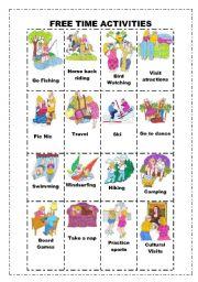 English Worksheet: Free Time activities Flashcards