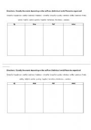 english teaching worksheets suffixes. Black Bedroom Furniture Sets. Home Design Ideas