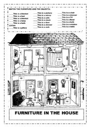 English Worksheets: Furniture in the house    Match the numbers to the images This is