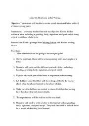 English Worksheets: Dear Mr. Blueberry