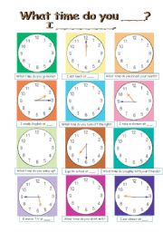 English Worksheet: Pair work conversation (4pages, sheet A and B, clock and flash cards)