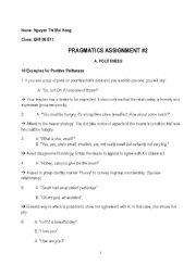 English Worksheets: pragmatics
