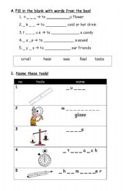 Worksheets Tools Of Science Worksheet english teaching worksheets tools senses and some in learning science