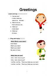 Greetings esl worksheet by yegrace218 english worksheet greetings m4hsunfo