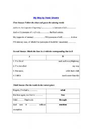 English Worksheet: My Way by Frank Sinatra