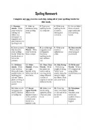 Printables Spelling Homework Worksheets english worksheets spelling homework 2 worksheet 2