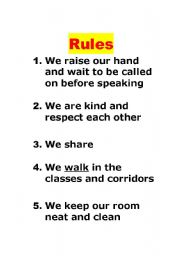 English Worksheets: Rules in Class