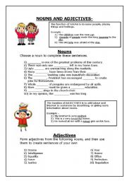 nouns and adjectives - ESL worksheet by JessSA