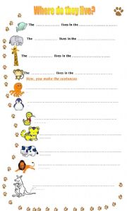 English Worksheet: Where do these animals live?