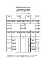 English Worksheets: Words with ch, shr-, and thr-