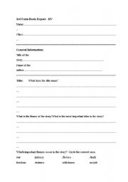 English Worksheets: bookreport form third class