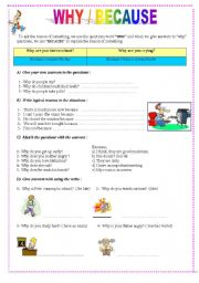 English Worksheets: why/because