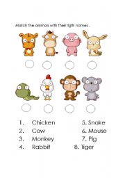 English Worksheets: fun animals