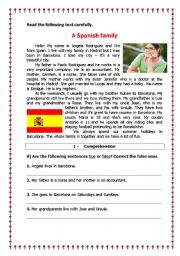 A Spanish Family Reading Comprehension Exercise