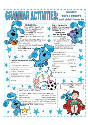 English Worksheet: MUSTN�T - DON�T / DOESN�T AND DIDN�T HAVE TO.