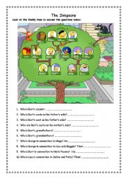 English Worksheet: The Simpsons Extended Family