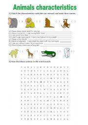 English Worksheets: Animals characteristics