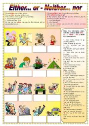 English Worksheets: Either... or - Neither... nor (fully editable)