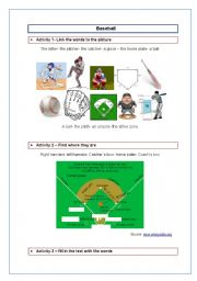 English Worksheet: Baseball