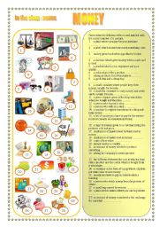 English Worksheet: MONEY - in the shop: nouns - matching, exercises, quiz