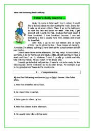 English Worksheets: Peter�s daily routine (2 pages)
