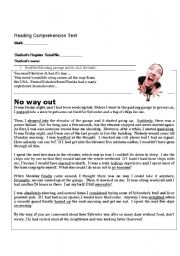 English Worksheets: A reading comprehension test