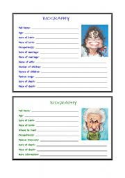 English Worksheets: Write biographies