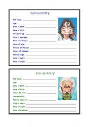 biography comprehension worksheets