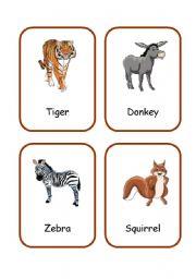 English Worksheets: ANIMALS FLASHCARDS 2/3