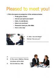 English Worksheets: introductions and greetings