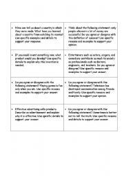 English Worksheet: FLASH ORAL PRESENTATION - 22 TOPICS
