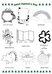 Coloring activity and exercises about St. Patrick´s Day