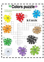English Worksheet: COLORS PUZZLE! PART ONE!