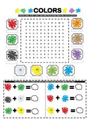 English Worksheets: COLORS WORDSEARCH-MIXING COLORS!