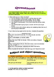 English Worksheet: Questions: Subject and Object questions