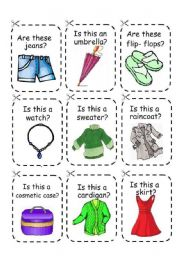 English Worksheet: CLOTHES GAME 2 (cards)