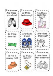 English Worksheet: CLOTHES GAME 3 (cards and instructions)