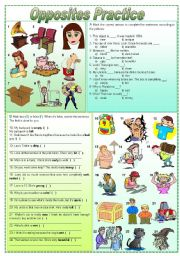 English Worksheets: Opposites practice - exercises (fully editable)