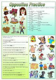 English Worksheet: Opposites practice - exercises (fully editable)