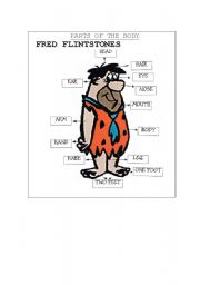 English Worksheets: Learn the Parts of the Boby with Fred Flintstones
