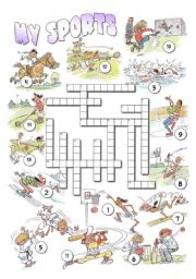 English Worksheet: My Sports Crossword
