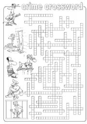 English Worksheets: Crime crossword
