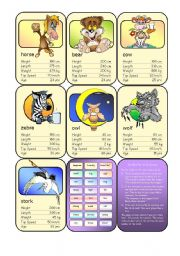 English Worksheet: Animal Card Game (6)