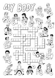 English Worksheet: My Body Crossword