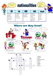 English worksheets: nationalities worksheets, page 28