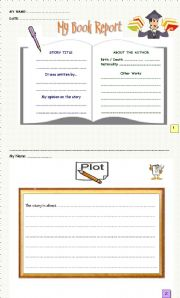 English Worksheet: MY BOOK REPORT (1st & 2nd Parts)