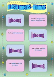Conversational Flash cards - Idioms, Colour and B&W versions with activities - 9 pages