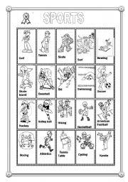 English Worksheet: 20 Sports Flashcards