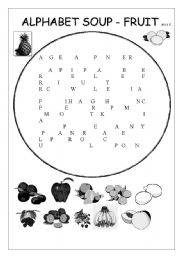 english worksheets fruit alphabet soup. Black Bedroom Furniture Sets. Home Design Ideas
