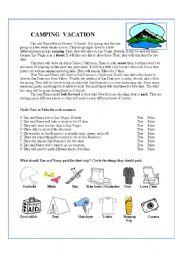 English Worksheet: Camping Vacation